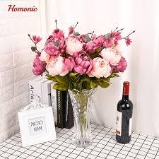 Fake Flowers Vintage Artificial Peony Silk Flowers Wedding Home