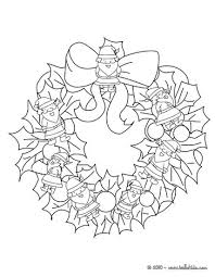 Flowers And Stars Wreath Santa Claus Christmas Crown Coloring Page