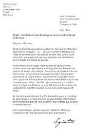 lettre de motivation employé de bureau modèle de lettre