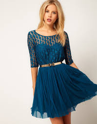 asos collection asos skater dress in spot lace mesh skirt in blue