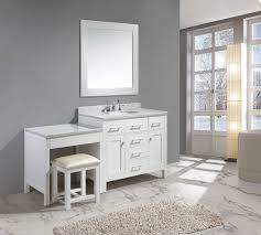 Narrow Master Bathroom Ideas by Vanity Set In White Finish With One Make Up Table In White