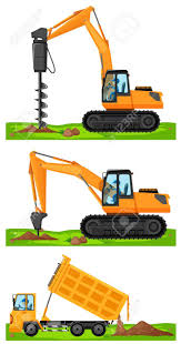 100 Construction Trucks Three Different Construction Trucks At The Site Illustration