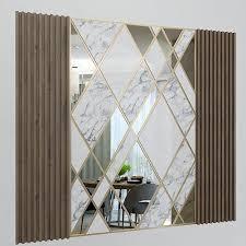 wanddekorplatte mit spiegeln marmor und holz 3docean artikel