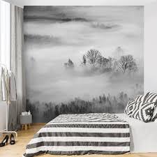 fototapete nebel bei sonnenaufgang schwarz weiß fototapete