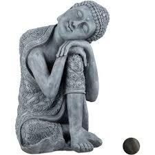 buddha figur geneigter kopf xl 60cm asia deko gartenfigur dekofigur wohnzimmer wetterfest grau