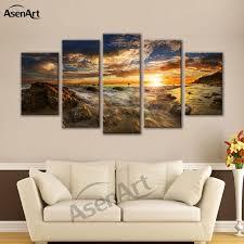 großhandel 5 stücke bild meer sonnenuntergang landschaftsmalerei seascape leinwand kunstdruck gerahmte bilder für wohnzimmer gerahmte fertig zum