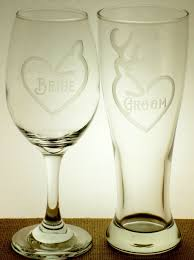 Country Doe And Buck Beer Wine Glasses For Bride Groom