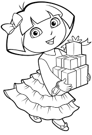 Dora Boots And Map Coloring Pages To Print