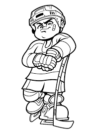 Hockey Coloring Pages Boy Player