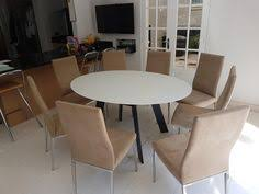 Modern Oval Glass Extendable Dining Table Moon With Livorno Chairs In Microfibre Material