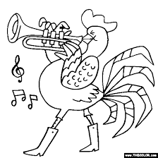 Rooster Cornet Coloring Page