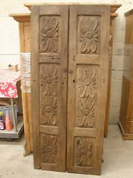 Antique Mexican Carved Mesquite Doors Pair Vintage Primitive Rustic Wood
