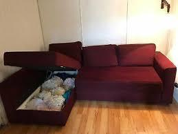 manstad schlafcouch sofa ikea dunkelrot in baden