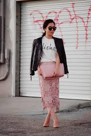 from day to night leather jacket and lace pencil skirt