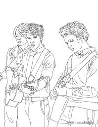 Jonas Brothers Playing Guitar Coloring Page