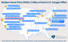 How do home prices vary near each of Google s 21 U S offices
