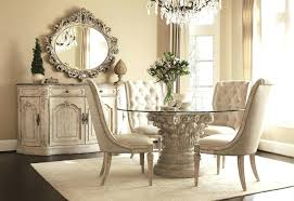 Decorative Mirrors For Dining Room Fascinating Round Table Buffet Design Romantic Ideas Wall Mirror With Also Tufted