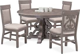 Charthouse Round Dining Table And 4 Upholstered Side Chairs | Value ... Trisha Yearwood Home Music City Hello Im Gone Ding Room Table Grey Griffin Cutback Upholstered Chair Along With Dark Wood Amazoncom Formal Luxurious 5pc Set Antique Silver Finish Tribeca Round And 2 Upholstered Side Chairs American Haddie Light Tone 4 Value Hooker Fniture Corsica Rectangle Pedestal Matisse With W Ladder Back By Paula Deen Vienna Merlot Kayla New