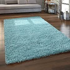 paco home hochflor teppich wohnzimmer shaggy langflor modern einfarbig ohne muster grösse 300x400 cm farbe türkis