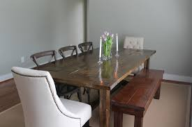 Most Furniture Country Style Large Farmhouse Dining Table With Flower Centerpieces And Metal Chairs Bench Seat