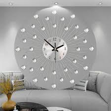 design wand uhr wohnzimmer schmiedeeisen diamant kristall
