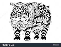 Hand Drawn Zentangle Hippopotamus For Coloring Book Adult