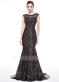 trumpet mermaid scoop neck court train sequined evening dress with