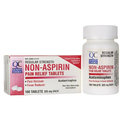Quality Choice Regular Strength Non-Aspirin Pain Relief Tablets - 325mg, x100
