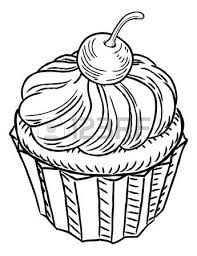 A muffin cupcake cake hand draw in a retro vintage woodcut engraved or etched style
