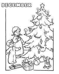Winter Two Kids Cheering The Christmas Trees On Coloring Page