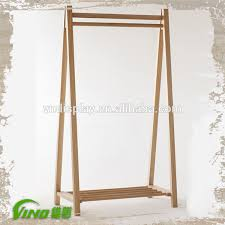 Double Side Wooden Display Racks With Wheels T Shirt Polo Shop