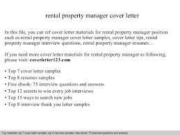 Rental property manager cover letter