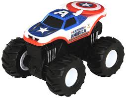 100 Hot Wheels Monster Truck Toys Jam Rev Tredz Captain America Vehicle 12cm Authe