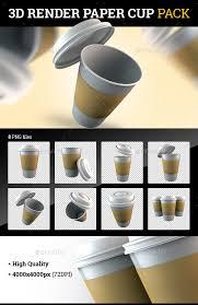 3D Render Paper Cup Pack