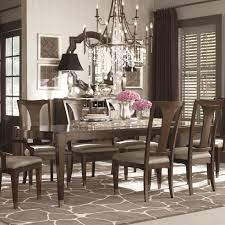 Bassett Cosmopolitan Transitional Nine Piece Dining Set With Rectangular Tables