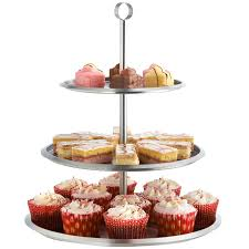 VonShef 3 Tier Cake Stand Stainless Steel To Display Cupcakes