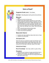 Materials Sink Or Float by Sink Or Float 2nd 3rd Grade Activities U0026 Project Lesson Planet