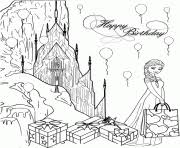 Elsa Birthday Party At Ice Castle Disney Coloring Pages