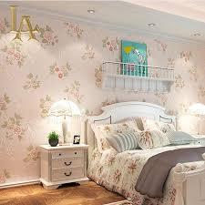 pastoral cozy pink light blue 3d flower wallpaper modern living