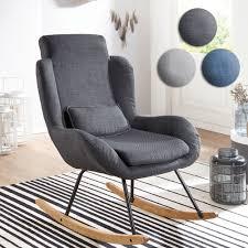 finebuy schaukelstuhl corey stoff holz design relaxsessel 75 x 110 x 88 5 cm sessel schwingsessel mit gestell polster relaxstuhl schaukelsessel