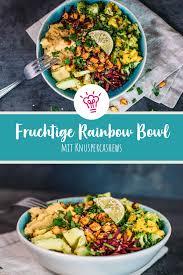 fruchtige rainbow bowl mit knuspercashews
