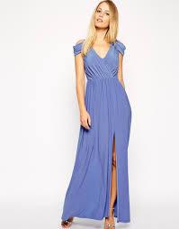 asos wrap front maxi dress in purple lyst