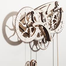 wooden mechanical clock kit thinkgeek