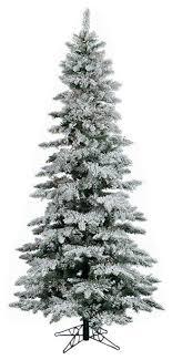 75 Pre Lit Flocked Layered Utica Fir Slim Christmas Tree Multi LED Light