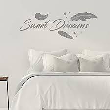 sweet dreams federn schlafzimmer 45 cm x 120 cm wandtattoo grau