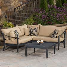 Patio Furniture Conversation Sets Home Depot by Rst Brands Astoria 4 Piece Patio Sectional Seating Set With Delano