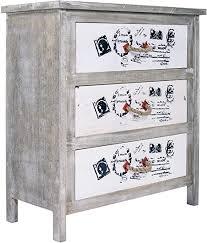 mobili kommode 3 schubladen grau weiß prints beschriftung seilgriffen vintage shabby schlafzimmer cod re4154