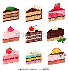 Colorful sweet cakes slices pieces isolated on white background Set of cakes Vector illustration