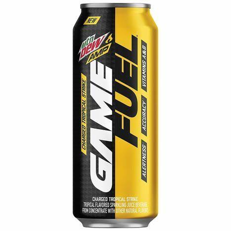 Mtn Dew Amp Game Fuel Sparkling Juice Beverage - Charged Tropical Strike, 16oz