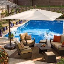 Offset Patio Umbrella W Mosquito Netting by Square White Offset Outdoor Umbrella With Swimming Pool Area And